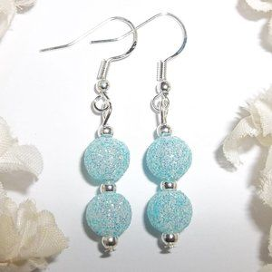 Turquoise Blue Glittery Sparkle Earrings Silver Jewelry Gift Idea for Her 6728